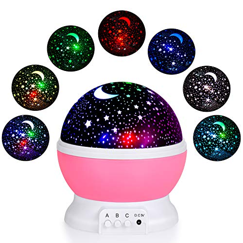 EOMOO Baby Night Lights for kids,Starry Night Light Rotating Moon Stars Projector, 7 Color Options Romantic Night Lighting Lamp, USB Cable/Batteries Powered for Nursery, Bedroom For Sale
