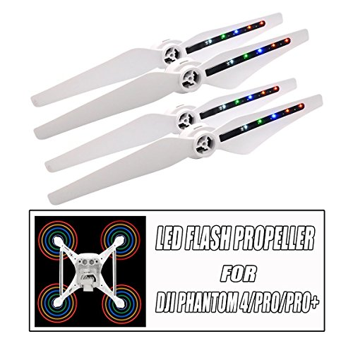 Pro Flash Spring (Low Noise Quick Release LED Light Flash USB Charging CW/CCW Propellers for DJI Phantom 4/4 Pro/4 Pro+/Obsidian Black Propellers Blades Drone, 2 Pairs)