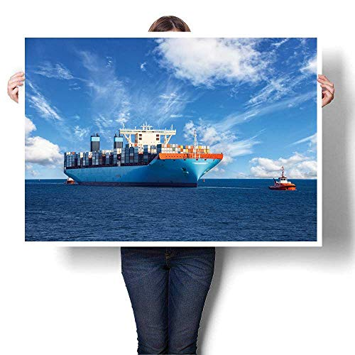 SCOCICI1588 1 Piece Wall Art Painting tugboats Assist Container Cargo Ship to Harbor Oil Painting,40