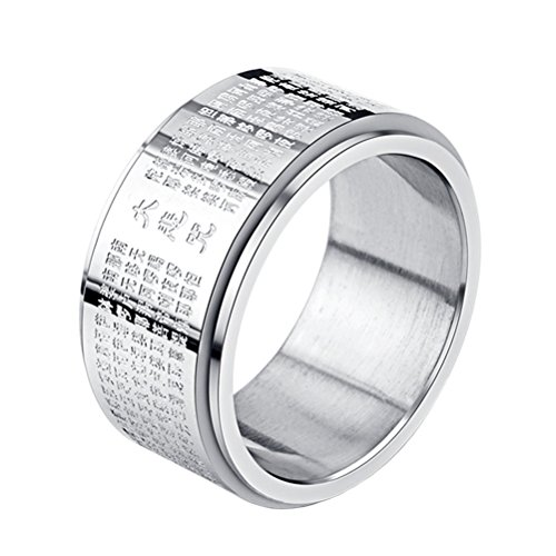 INRENG Stainless Steel Buddhist Rings for Men Engraved Chinese Great Compassion Mantra Wide Bands Size 12