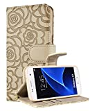 Samsung Galaxy S7 wallet case, FLYEE Premium Vintage Emboss Flower Flip Wallet Shell PU Leather Magnetic Cover Skin with Detachable Wrist Strap Case for Galaxy S7 5.1 Inch -Beige