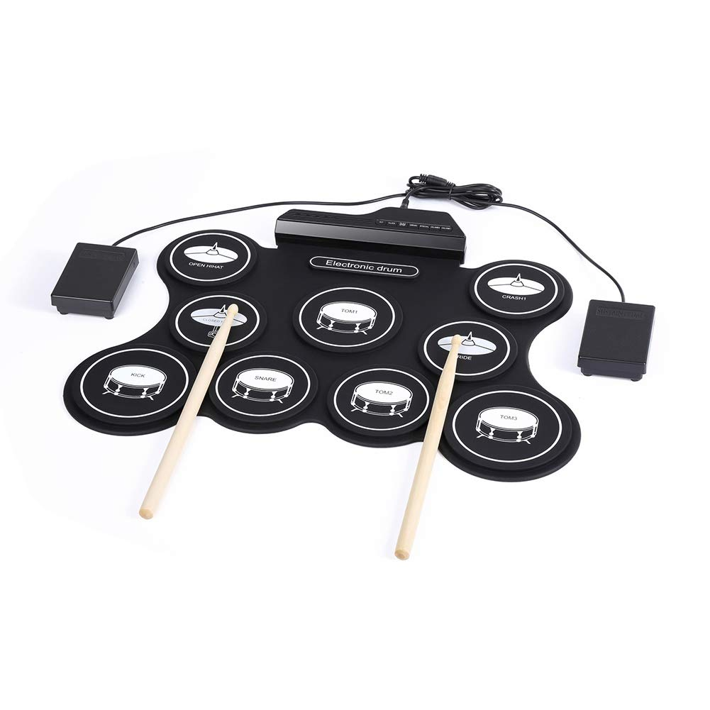 bjlongyi Digital Drum Machine,Built-in 5 Drum Set Tones 9 Silicone Drum Pads 3.5mm Headphone Output Jack Practice Tools Black