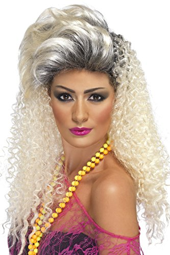 Smiffy's Women's Long Curly Blonde 80's Wig with Quiff, One Size, 80's Bottle Wig, 5020570420225 (Curly Blonde Costume Wig)