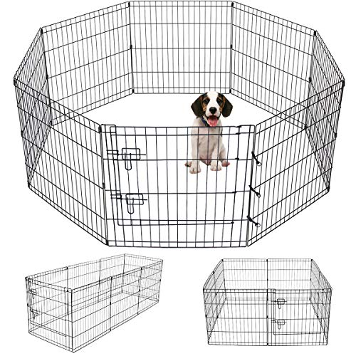 (Pet Playpen Puppy Playpen Kennels Dog Fence Exercise Pen Gate Fence Foldable Dog Crate 8-Panels 24 Inch Kennels Pen Playpen Options Ideal for Any Animals Dog Cat Rabbit Breed Puppy Outdoor Indoor)