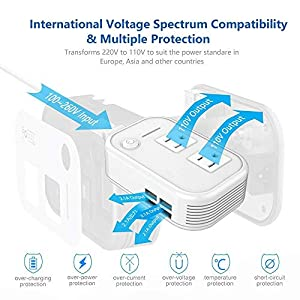 Foval International Travel Adapter With Step Down Voltage Converter 220v to 110v  with 4-port USB more than 150 Countries over the World