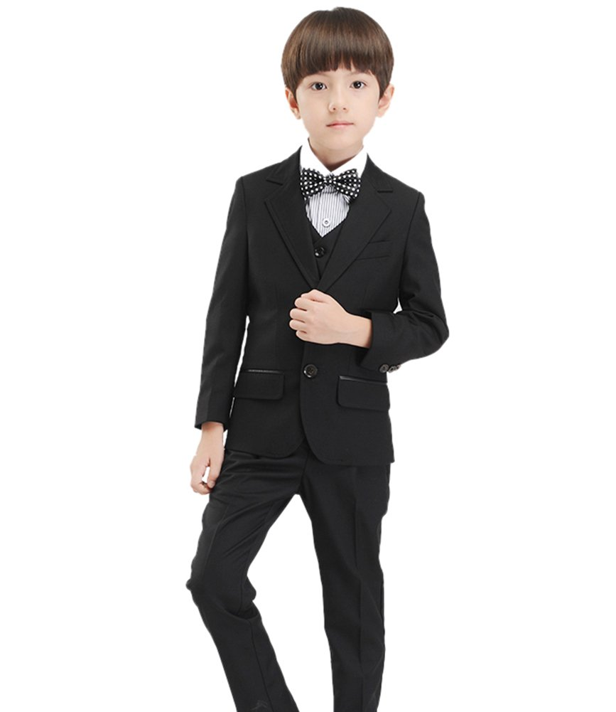 SK Studio Boys' 5-Piece Textured Slim Fit Formal Wedding Dress Suits Black by SK Studio