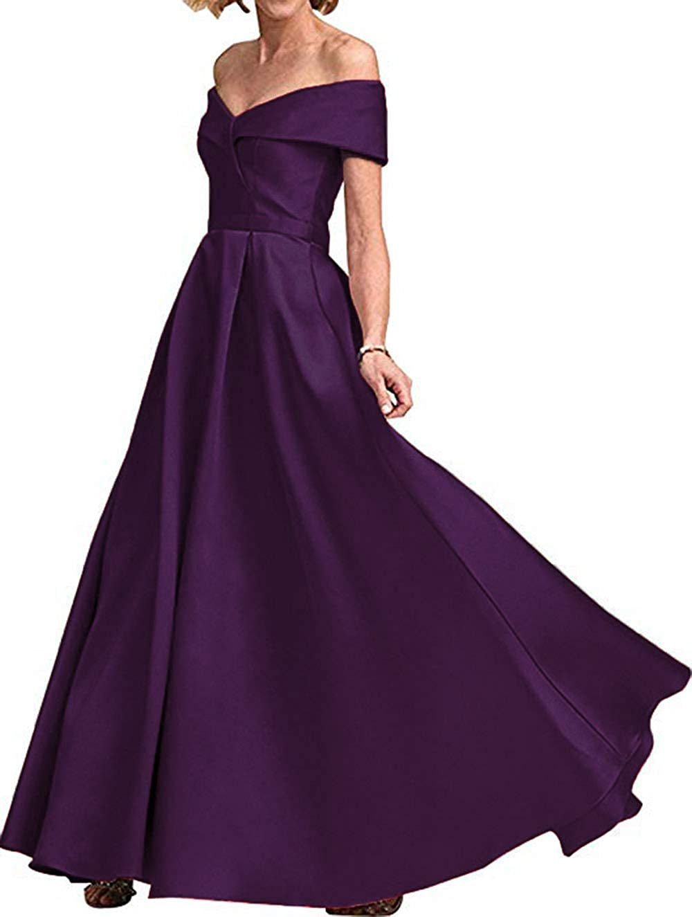 Grape Rmaytiked Womens Off The Shoulder Prom Dresses Long 2019 Satin A Line Formal Evening Ball Gowns with Pockets