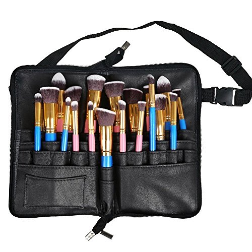 MONSTINA Cosmetic Makeup Brush Bag Professional 30 Pockets Brush Organizer with Artist Belt Strap(Black) ()