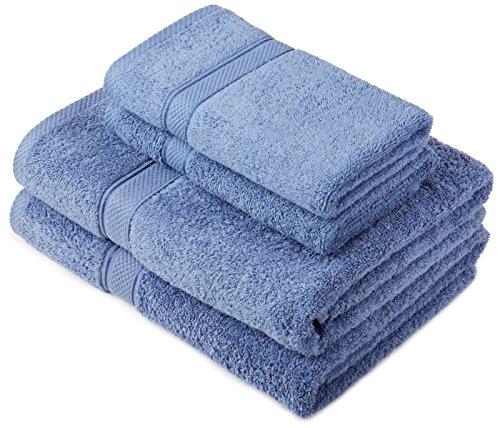 Pinzon by Amazon Lot deserviettes, 2 draps de bain et 2serviettes de bain en coton Bleu Wedgwood