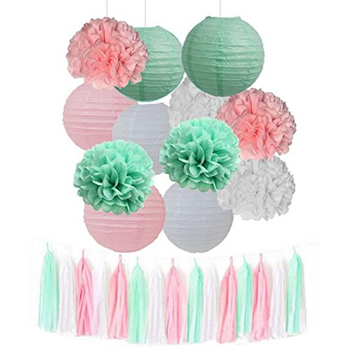 15pcs Mixed Mint Green Pink White Tissue Pom Poms Tassel Garland Paper Lanterns Wedding Bridal Shower Decor Girl Baby Shower Princess Birthday Party -