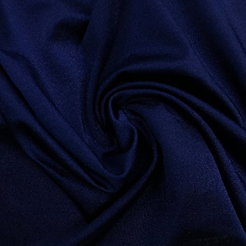 Pine Crest Fabrics Shiny Tricot Navy Fabric by The Yard
