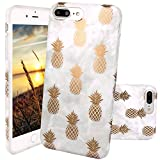 iPhone 7 Plus Case, JAHOLAN Shiny Gold Pineapple Gray Marble Design Clear Bumper Matte TPU Soft Rubber Silicone Cover Phone Case for Apple iPhone 7 Plus