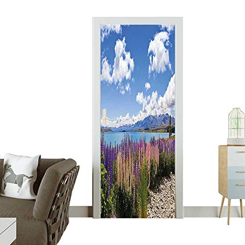 Door Sticker Wall Decals Lup Wildflowers The Shore Cloudy Sky Digital Sky Blue Easy to Peel and StickW38.5 x H79 INCH