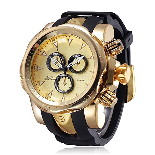 JIANGYUYAN Mens Big Heavy Analog Quartz Watch Silicone Band Gold 217302