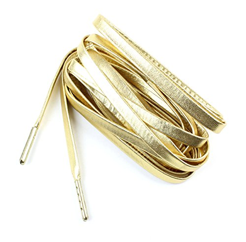 Gold Shoelaces (Flat Sheepskin Leather Shoelaces 1/4 Wide 51