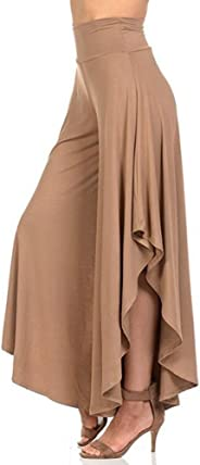 Women Comfy High Waist Loose Skirt Casual Dress Layered Cropped Palazzo Trousers