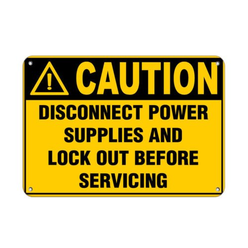 Sign Caution Disconnect Power Supplies & Lock Out Before Service Aluminum Metal by Sign (Image #1)