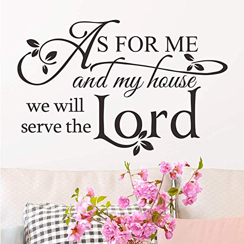melestore As for Me and My House Vinyl Wall Decals Sticker Quotes Verse Home Décor Art Saying PVC Stickers (Bible Verses Wall Stickers)