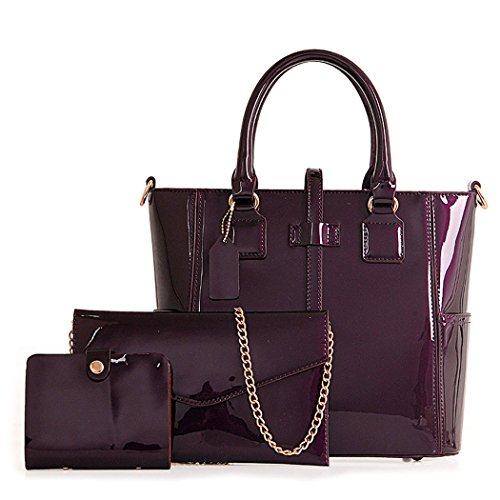 Bolsos para mujer Bolsos bandolera Shoppers y bolsos de hombro Cuero de PU Bolsos totes 3pcs Set Púrpura