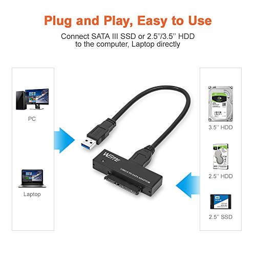 WEme USB 3.0 to SATA Converter Adapter for 2.5/3.5 inch Hard Drive Disk SSD HDD, Power Adapter and USB 3.0 Cable included by WEme (Image #3)