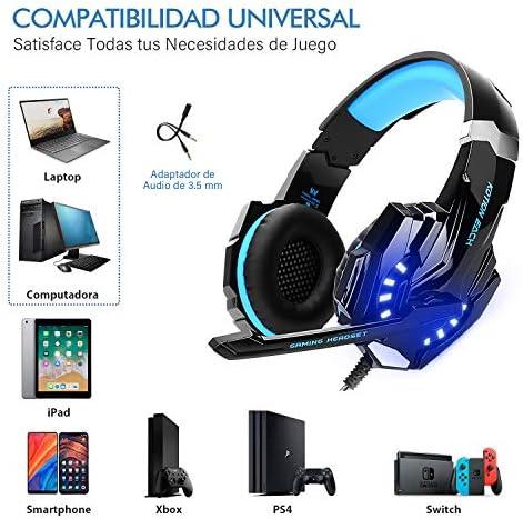 LonEasy Auriculares para Juegos, Auriculares para Juegos con Aislamiento de Ruido con Cable de,Control del Volumen audifonos Gaming. 7