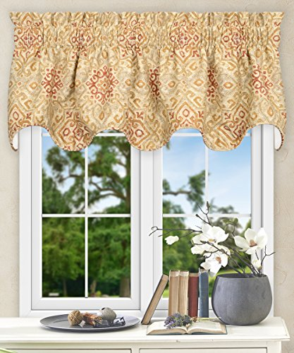 Ellis Curtain Miramar Medallion Tile Print 100-Percent Cotton Twill (Lined Scallop Valance, 70 x 17″, Honey Beige) For Sale