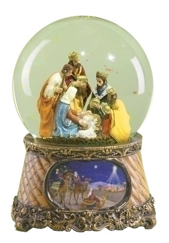 Scene Nativity Snowglobe (Three Kings Nativity Scene 6 Inch Musical Glitter Dome Plays Tune Little Drummer Boy)