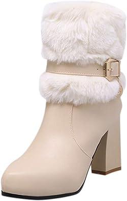 Bottes Fourrure Talon Femme Bottines de Neige Boot Chaud Rose en Cuir épais Talon Carré Dentelle Mode Ankle Boots Femme Bottes Neige Chaud Pas Cher