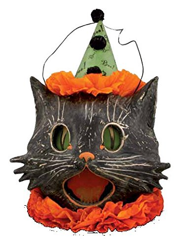 Bethany Lowe Sassy Kitty Cat Candy Container Paper Mache Halloween Bucket