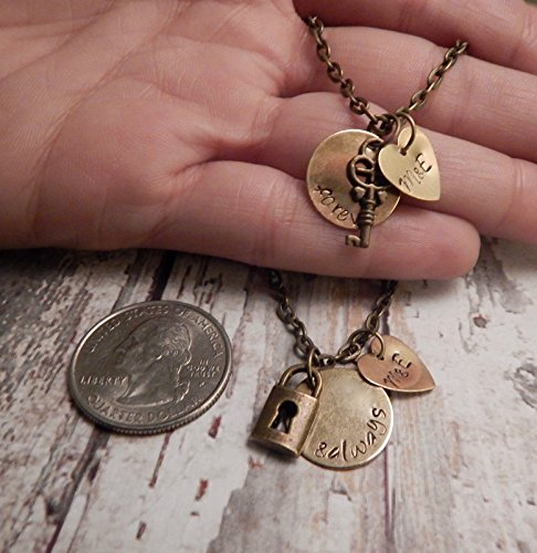 e5eafca1ac Personalized Forever and Always Couples Necklace Set with Lock and Key  Charms and Initials- Couples Jewelry - Best Friend Necklaces - Buy Online  in Oman.