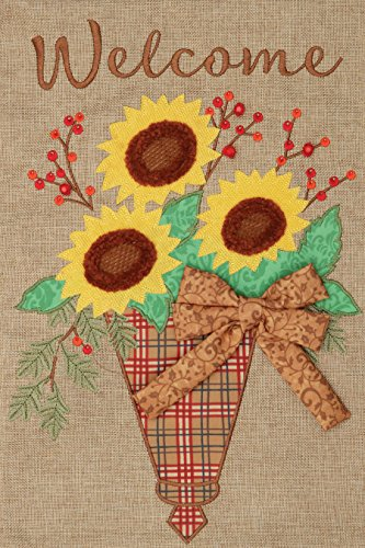 Welcome Sunflowers - Applique Burlap Garden Size, 12 Inch X