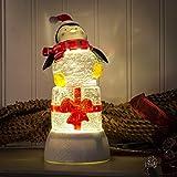 Giant Present Penguin LED Light-up 8 inch Christmas Glitterglobe Figurine
