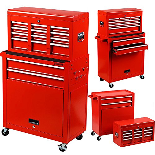 Portable Top Chest 2 in 1 Rolling Tool Storage Box Cabinet Sliding Drawers Red ()