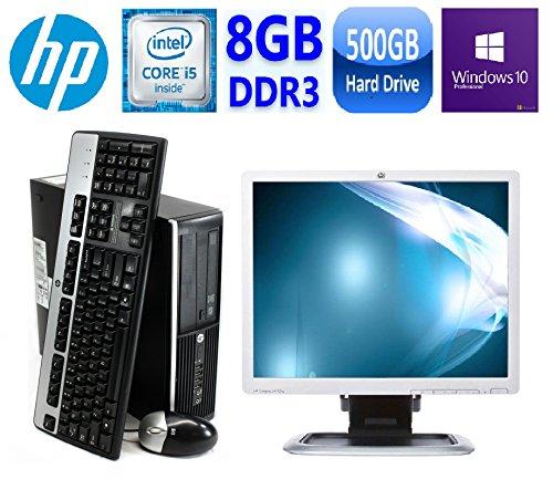 HP 8300 Elite Small Form Factor Desktop Computer, Intel Core i5-3470 3.2GHz Quad-Core, 8GB RAM, 500GB SATA, Windows 10 Pro 64-Bit, USB 3.0, Display Port ,HP LA1951G 19