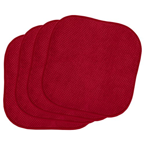 Bounce Comfort Bon Appetite (4 Piece) Cushioned Chair Pad Set, 4-Pack, Barn Red