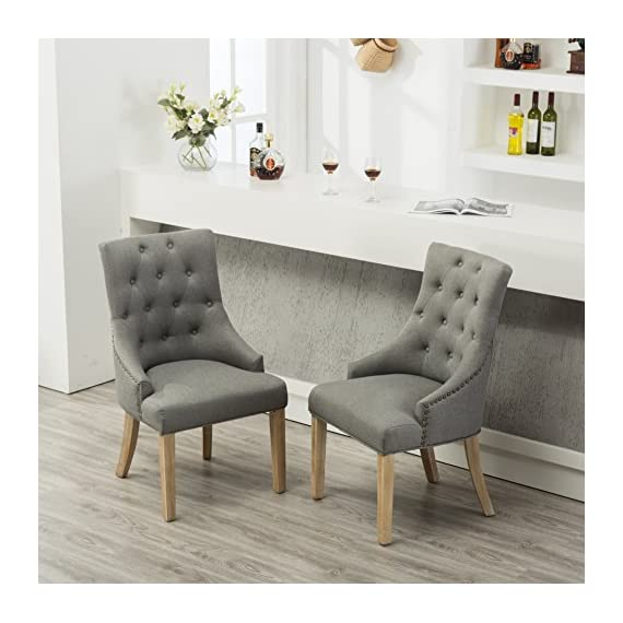 Roundhill Furniture Button Tufted Solid Wood Wingback Hostess Chairs with Nail Heads, Set of 2, Grey - Button tufting creates a plush inviting look Features coordinating gold nail heads and rustic wood finish Set includes 2 chairs ship in one box, some assembly required, all parts and instructions included. - kitchen-dining-room-furniture, kitchen-dining-room, kitchen-dining-room-chairs - 51XIuE%2BlXGL. SS570  -