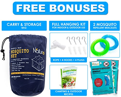 #1 The Best Mosquito Net By NATURO for Double Bed Canopy   Largest Screen Netting Curtains   2 Openings!   Bonuses: 2 Insect Repellent Bracelets , A Full Hanging Kit, Carry Bag + E-book