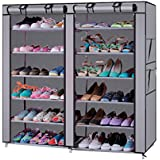 LEADZM 6-Row 2-Line 12 Lattices Non-woven Fabric Shoe Rack,Closet&Cabinet&Shelf Shoe Storage Organizer with Dust-proof Water-proof 36-Pair Gray