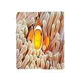 VROSELV Custom Blanket Ocean Clown Fish Swimming in Tentacles in the Pacific Ocean Bali Indonesia Marine Wildlife Bedroom Living Room Dorm Beige Orange