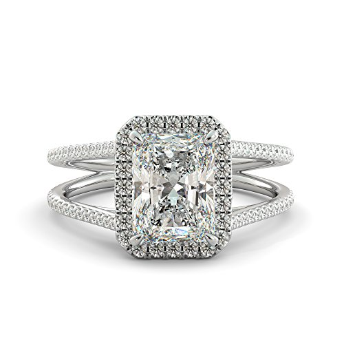 3.57 ct Radiant Cut Charles & Colvard Forever One Moissanite & Round Cut Diamond Halo Engagement Split Shank Ring Your choice of Solid 14k White Rose or Yellow Gold by J&H Jewelers