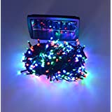 Samyo 100ft 300 LED 2 Light Modes Waterproof Solar Fairy Lights String for Outdoor Gardens Homes Christmas Lighting Party (Multi-color)