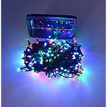 Samyo 100ft 300 LED 2 Light Modes Waterproof Solar Fairy Lights String for Outdoor Gardens Homes Christmas Lighting Party (Multi-color)