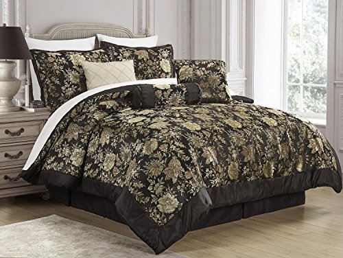 7-Piece Jacquard Floral Comforter Sets Queen,Bedding Sets Bed-in-a-Bag Queen,Black/Gold  jacquard bedding set 7 pieces | Northern Nights Jacquard Reversible 6 or 7 Piece Comforter Set on QVC 51XIvdAXK5L