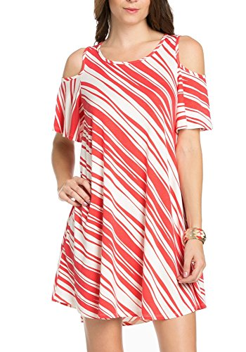 My Space Clothing Women's Wavy Striped Cold-Shoulder Jersey - Endless Summer Dress