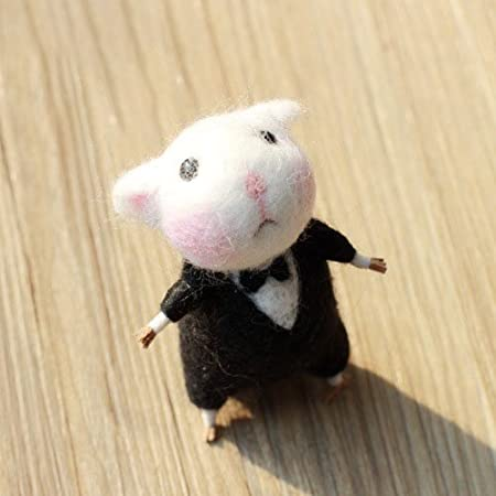 Mouse with Tie Handmade Adorable Doll DIY Needle Felting Kit DIY Fun Doll Needlework Raw Wool Baize Poke