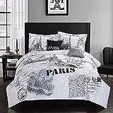 paris themed bedrooms CASA Paris Comforter Set, Full/Queen, 5 Piece