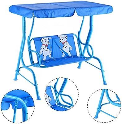 vengaconmigo Columpio Balancín Infantil para Jardín con Cinturón de Seguridad Balancín para Niños Exterior con Techo y Patrón Mono (Azul): Amazon.es: Jardín