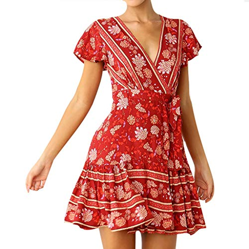UOFOCO Bohemian A Line Beach Mini Dress Women Wrap V Neck Floral Print Ruffle Swing Dress Red ()
