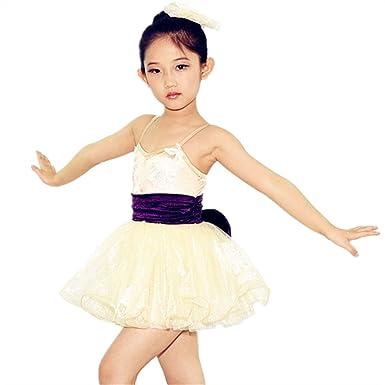 7c3b0ad08 MiDee Girls Ballet Tutu Dance Costume Ballroom Dress Camisole Floral  Clothing (XSC, Gold)