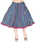 In-Sattva Colors Womens Mid-length skirt with crushed printed fabric, Blue